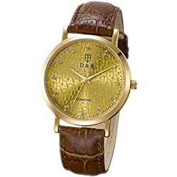 Two pieces Ultra Thin Waterproof Watch Luxury Zircon Insert Gold Plated Gold Screen Leather Strap