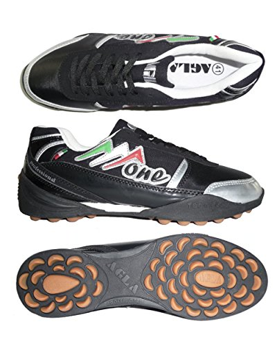 AGLA PROFESSIONAL ONE EXE OUTDOOR scarpe calcetto futsal calcio a 5 anti-shock system (41 EU, Black/Silver)