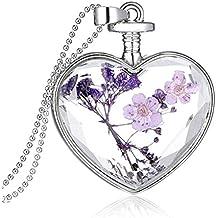 OULII Cristal Corazón Colgante Collar para Mujer Flor Seca Collar Cadena de Bola Plata