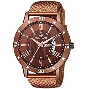 Eddy Hager Round Day & Date with Brown Rubber Chain EH-264-BR