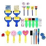 Kinder Pinsel Set,21 Pack Schwamm Malerei Pinsel waschbar Schwamm Zeichnung Set für Kinder Doodle Kunsthandwerk DIY frühes Lernen Basteln