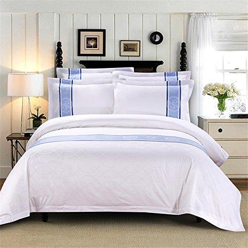 YAN Bettbezug-Set Plain gefärbt Jacquard Simple Style Count 100% Baumwolle enthalten 1 Bettbezug +1 Blatt + 2 Kissenbezüge Frühling Sommer Herbst Winter (Farbe : 2) - Baumwoll-jacquard-könig-duvet