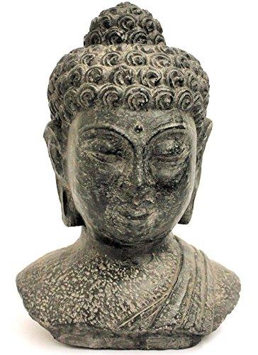 statua testa di buddha 30cm in pietra in pietra feng shui giardino
