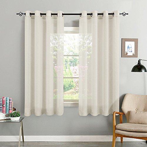 TOPICK Beige Kurze Gardinen Vorhang für Wohnzimmer transparent mit Ösen Ösenschal dekoschal Voile 145 x 140 cm (H x B) 2er Set