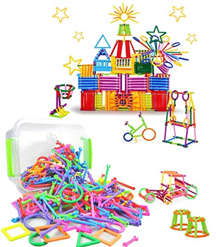 300 PCS Magic Sticks Set DIY Interlocking Plastic Building Blocks Construction Toy with Sturdy Carry Box Creative and Educational Stacking Toys for Children over 3 Year old Christmas Birthday Gift