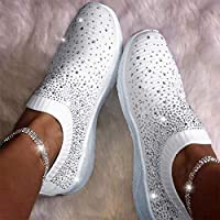 Artwarm Crystal Sneakers Women Ankle Shoes Flat Loafers Slip On Breathable Casual Shoes