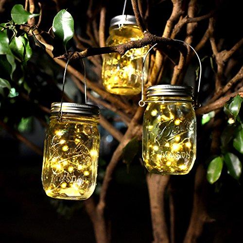 Solar Mason Jar Lichter Solarlicht Feen Lichter led Solarleuchten mit 10 LED für Gartendekoration Party Veranstaltungen Hochzeit Urlaub (Warmes Gelb 4 Stück)