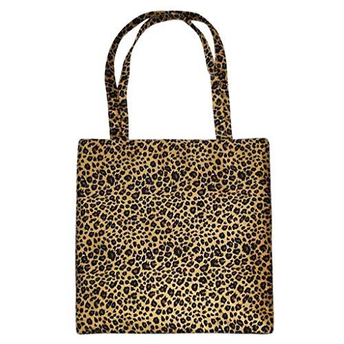 Leopard Print Canvas Handtasche (Dabixx Einkaufstasche, Tote Bag - Leopard Print Canvas Wiederverwendbare Tragetaschen Handtasche Schulter Tote Shopper - D#)
