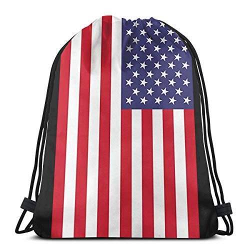 Amerikanische Flagge Drawstring Rucksack Tasche für Kinder Jungen Mädchen Teens Geburtstag, Geschenk String Bag Gym Cinch Sack für Schule und Party 14,2 x 16,9 Zoll
