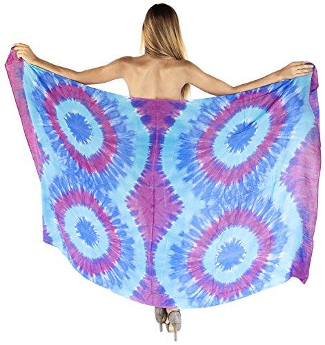 LA LEELA glatt Hand tie dye Frauen Rayon Spirale Vertuschungsarong 78x43 Zoll blau