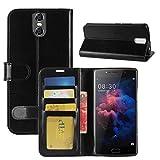 HualuBro DOOGEE BL7000 Hülle, Premium PU Leder Leather Wallet HandyHülle Tasche Schutzhülle Case Flip Cover mit Karten Slot für Doogee BL7000 5.5 Inch Smartphone (Schwarz)