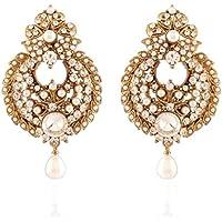 I gioielli da donna tradizionale oro placcato orecchini di perla Bianco - Moto Pearl White Moto