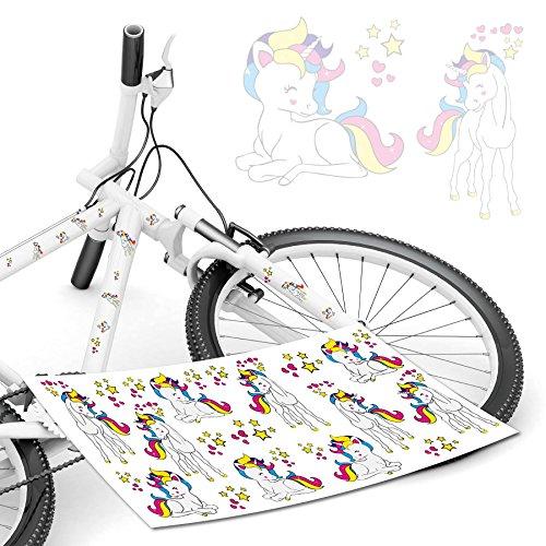 Einhorn Aufkleber bunte Einhörner Unicorn Regenbogen Sticker Fahrradaufkleber