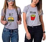 Best Friends T-Shirt für Zwei Mädchen mit Aufdruck Burger Pommes Sommer Oberteile Set für 2 Damen Beste Freunde Freundin BFF Geburtstagsgeschenk (Grau, Best-XS+Friends-S)