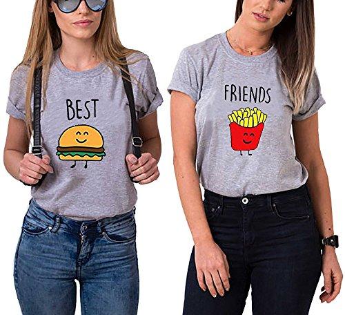 Best Friends T-Shirt für Zwei Mädchen mit Aufdruck Burger Pommes Sommer Oberteile Set für 2 Damen Beste Freunde Freundin BFF Geburtstagsgeschenk (Grau, Best-XS+Friends-XS) - Kinder Mädchen Sachen Für
