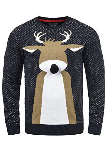 Blend Rudolph Herren Strickpullover Weihnachtspullover Mit Rundhalsausschnitt, Größe:3XL, Farbe:Dark Navy/Nose (74677)