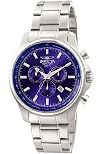 Invicta Men's Quartz Watch with Blue Dial Chronograph Display and Silver Stainless Steel Bracelet Invicta 1834