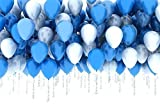 Hosaire 20PCS Latex Round Balloons Blue White Helium Decorative Balloons, 10 Bule 10 White