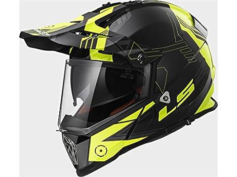 404362154XXXL - LS2 MX436.21 Pioneer Trigger Dual Sport Helmet 3XL Black White Hi-Vis Yellow