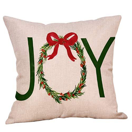 Yearnly Kissenbezug Weihnachten, Weihnachts Muster Blätterdesign, Christmasmotiv, Beige, Baumwolle Leinen kissenhülle,Weihnachten Dekoration, 45 x 45 cm (Mülleimer Baby Kostüm)