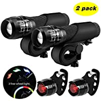 Blinkle Bike Light Set LED Bicycle Light with Zoomable Function 3 Modes 3 Aaa Batteries Powered Safety Bicycle Lights Kit(with 3 wheel light /2 taillight bike light)