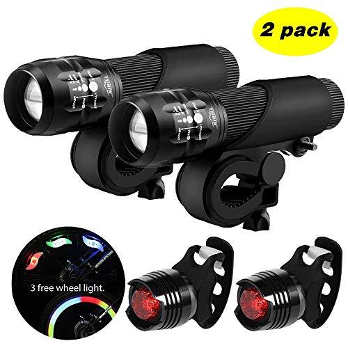 Blinkle - Juego de luces LED para bicicleta con función de zoom 3 modos 3 pilas AAA,  kit de luces de seguridad para bicicleta (con 3 luces de rueda/2 luces traseras para bicicleta), 2 pack