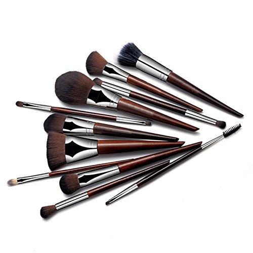 Oshide 11 pcs Bois Make Up Lot de pinceaux de maquillage kit Poudre Fond de Teint Visage Fard à paupières lèvres Pinceaux de maquillage