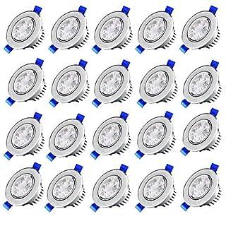 MCTECH 3W Warmweiß LED Spot Einbauleuchten Einbau Strahler Set Decken Leuchte Lampe AC85-265V Wohnzimmer Decken spot (20 Stück Per Set)