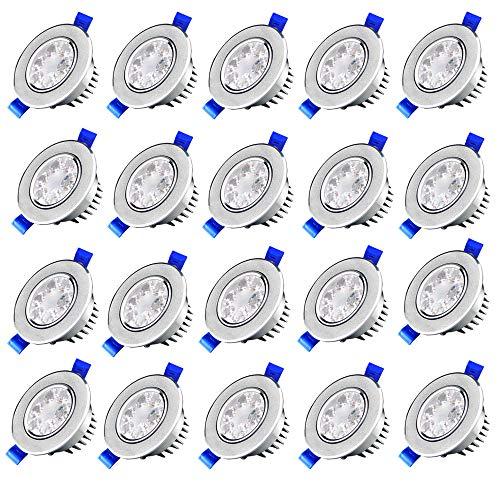 Lampen 3 Stück Set (MCTECH 20 Stück Per Set 3W LED Spot Einbauleuchte Einbau Strahler Set Decken Leuchte Lampe (20X3W, Weiß))
