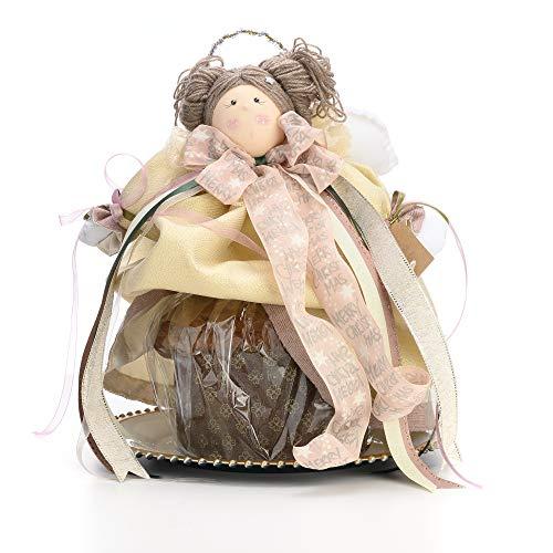 Sweet hugs angelo puntale copri panettone per natale interamente fatto a mano con stoffe e nastri pregiati ideale come decorazione natalizia per una casa in festa