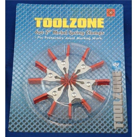 Toolzone Lot de 6 pièces de 2 pinces à ressort en métal avec protection en Pvc