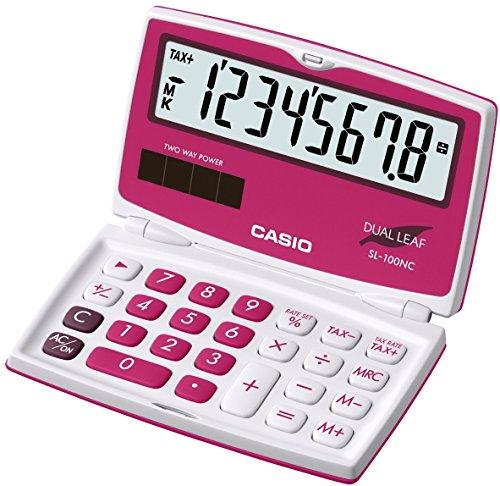 Casio SL-100NC-RD Dual Leaf Taschenrechner, 8-stelliges Big-Display, rot