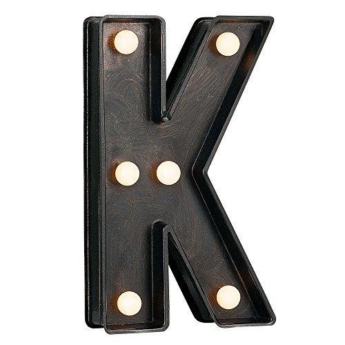 MiniSun – Decorativa letra luminosa 'K' con 8 luces LED blancas cálidas, de estilo vintage y efecto cepillado