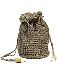 Blutec Crochet Knitted Silky Soft Handmade Potli Bag - hb-cr-1064 Wheat Gold