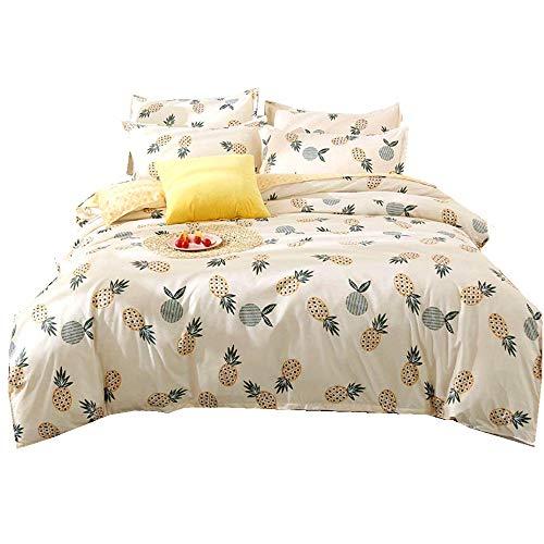 Stillshine Bettwäsche Set Nordische Art gelbe Ananas Bettbezug-Set Einzelbett Doppelbett King Size (Ananas gelb, 220 x 240 cm) - King-set Bettbezug Gelb