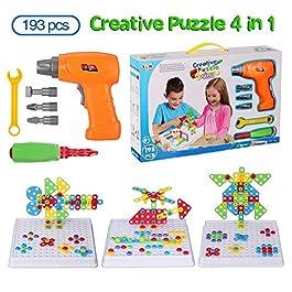 BeebeeRun Mosaico di Puzzle 3D 4 in 1, Giocattoli di Costruzione Montessori, Set di Giocattoli Elettrici per Trapano…