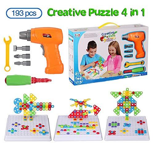 Mosaico di Puzzle 3D 4 in 1, Giocattoli di Costruzione Montessori,set di giocattoli elettrici per trapano, puzzle giocattolo fai da te, giocattolo per costruzioni, 193 pezzi con 18 carte animali