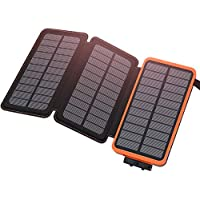 ADDTOP Solar Charger 24000mAh Waterproof Solar Power Bank High Capacity Portable Phone Chargers with Dual 2.1A USB Output for Smartphones, Tablets and More