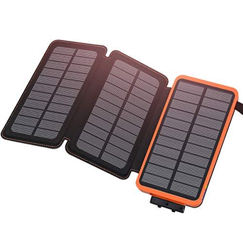 Hiluckey Power Bank 24000mAh, Cargador Solar con 3 Paneles Solares...