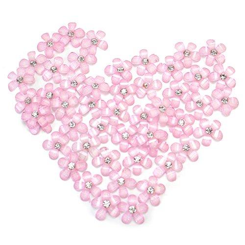 50x 3D Fleur Strass Bling Rosé Plastique Cristal Nail Art Conseils Accessoire
