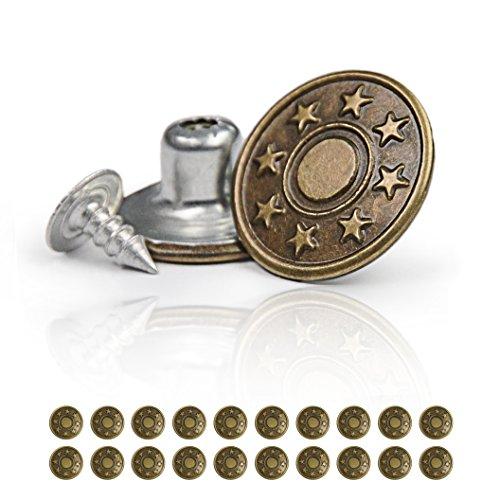 Ganzoo Hosen-Knöpfe im 20er Set, Ersatz-Knopf, Hosen-Knopf mit Nieten-Verschluss, Jeans-Knopf aus Metall, Farbe: altgold