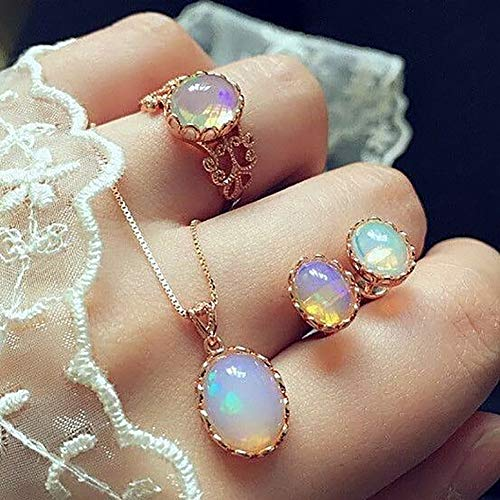FEIDA Hochzeit Halskette Ring Ohrstecker Set Oval Faux Opal Elegant für Damen Verlobung - Rosegold