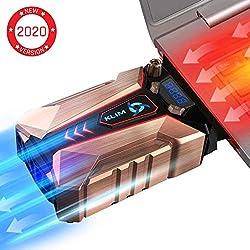 KLIMTM Cool + Refroidisseur PC Portable en Métal - Le Plus Puissant - Extracteur d' Air USB pour Refroidissement Immédiat - Ventilo - Version 2020