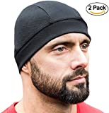 Skull Cap [ Black 2 Pack] , Best as a Helmet Liner, Great Cycling Caps, Running Sports Beanie, Perfect under Helmets, Covers Ears and Wicks Mositure