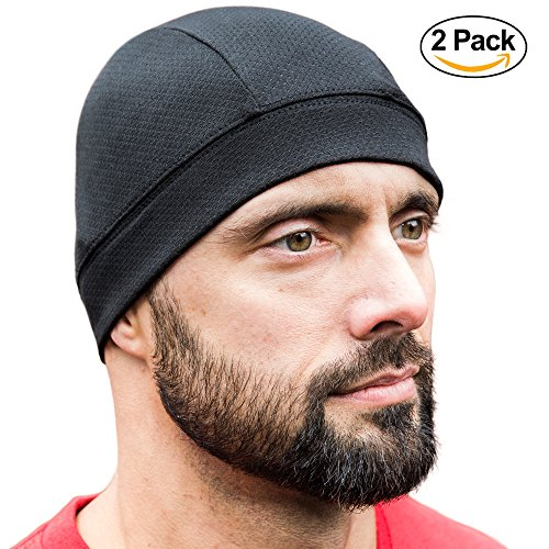 Renegade Active Adventure Skull Caps [ Black 2 Pack] , Best as a Helmet Liner, Cycling Cap, Running Sports Beanie, Perfect under Helmets and Covers Ears