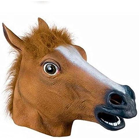 WHATWEARS-Cosplay-Maschera di Halloween a forma di testa di cavallo in lattice-Costume per feste, motivo: Animal