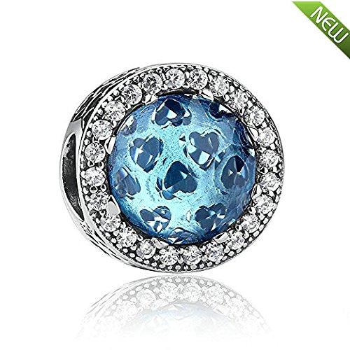 PANDOCCI 2016 europei brillanti cuori moonlight blu cristallo perline di fascino 925 sterling silver fai da te adatto gioielli braccialetto europeo di fascino