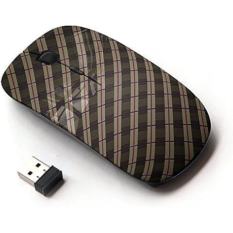 KOOLmouse [ Mouse Senza Fili Ottico 2.4G ] [ Stripes Wallpaper Grey Brown Red Random (Wallpaper Piccolo Stripe Wallpaper)