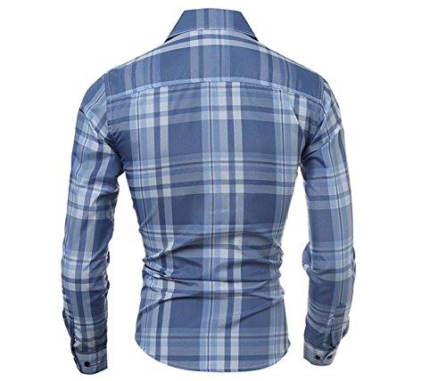 SHUNLIU Herren Hemd Slim Fit Baumwolle Business Langarmhemd Kariert Freizeit Hemden Hellblau