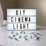 Caja de Luz LED A4 con 160 Letras, Números, Símbolos, Letras Ñ y Ç Incluida | Caja Luz Letras Cinematográfica Ideal para Decoración Vintage en Habitación, Oficina